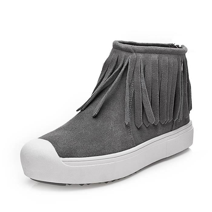 Bottes frangées Bottes avec coton Chaussures femme Bottes courtes Bottes hiver Bottes mode Chaussures chaudement Chaussures