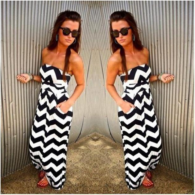 Mode robe blanche sans manches à col noir dres Stripes