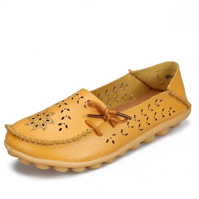 Mocassin Femmes Printemps Ete Mode Classique Plat Chaussure BTYS-XZ086Jaune34