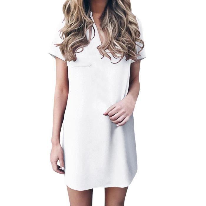 b161839f5f8e6 femme col V en mousseline de soie Robe courte solide avec poche à manches  Mini robes blanc