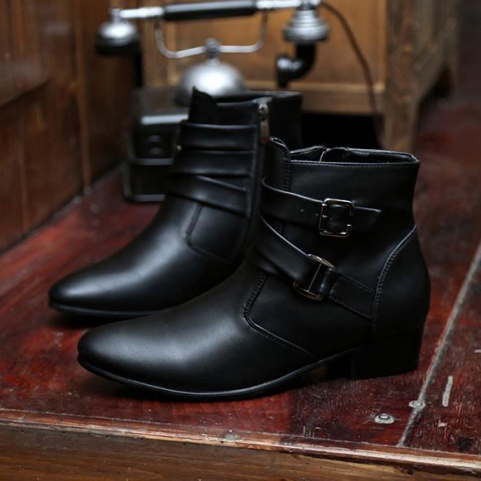 Botte Homme Simple britannique Big Taille haute qualité en cuir de loisirs noir taille6.5