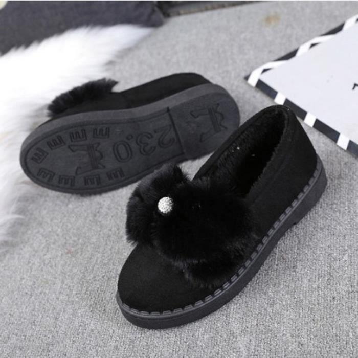 Femmes Chaud Appartements Chaussures Neige Femmes Automne Hiver Chaussures Mode Noir