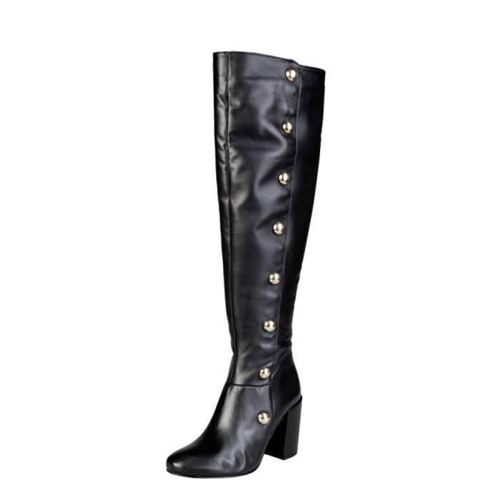 Pierre Cardin - 8060K248 bottes en cuir noir talon -Hauteur: 8,5 cm