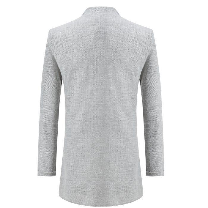Gris Outwear Solide Jacket Les À De D'hiver Manches Poche Bouton Manteau Hommes Plus Wind Longues Chaud qvWPZUwSvn