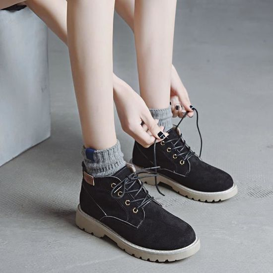 Oxford Women's Casual Shoes Flock Ladies Fashion Boots11 Flat Ankle Noir Short n08OkwPX