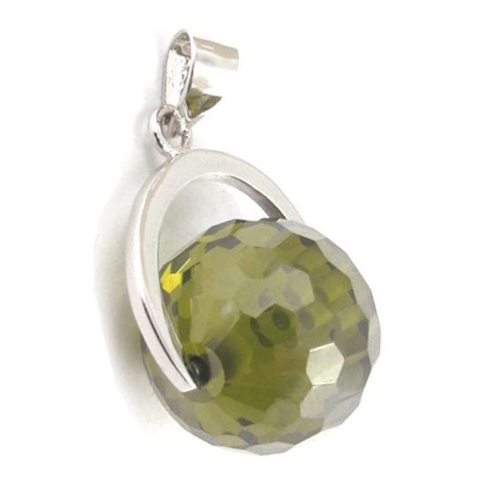 Pendentif Argent Linda vert olivine