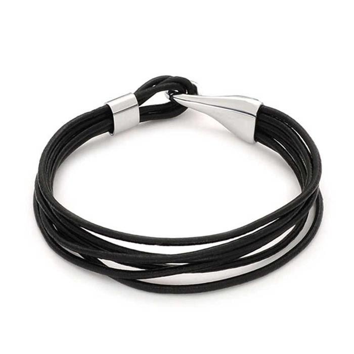 Bracelet Cuir Lanières Multiples Noires Tressées Avec Fermoir Crochet En Acier Inoxydable 20.9Cm