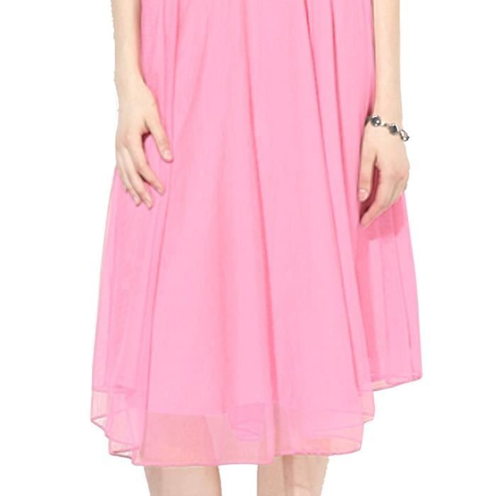 Womens Party Wear Pink Net Georgette Stitched Western Dress R4UM7 Taille-40