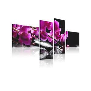 TABLEAU - TOILE Tableau Orchidée Rose Et Pierre Zen - Dimension -