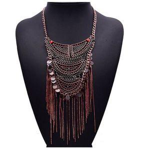 SAUTOIR ET COLLIER s2591 Bohème Vintage Bronze rouge perle multicolor