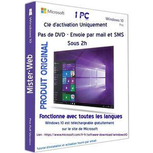CLÉ USB Licence d'activation de windows 10 Pro 32-64 bits