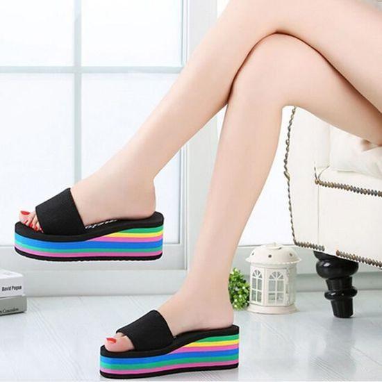 Chaussures@ Les femmes d'été Rainbow pantoufles antidérapant Noir + 38 Noir Noir - Achat / Vente slip-on