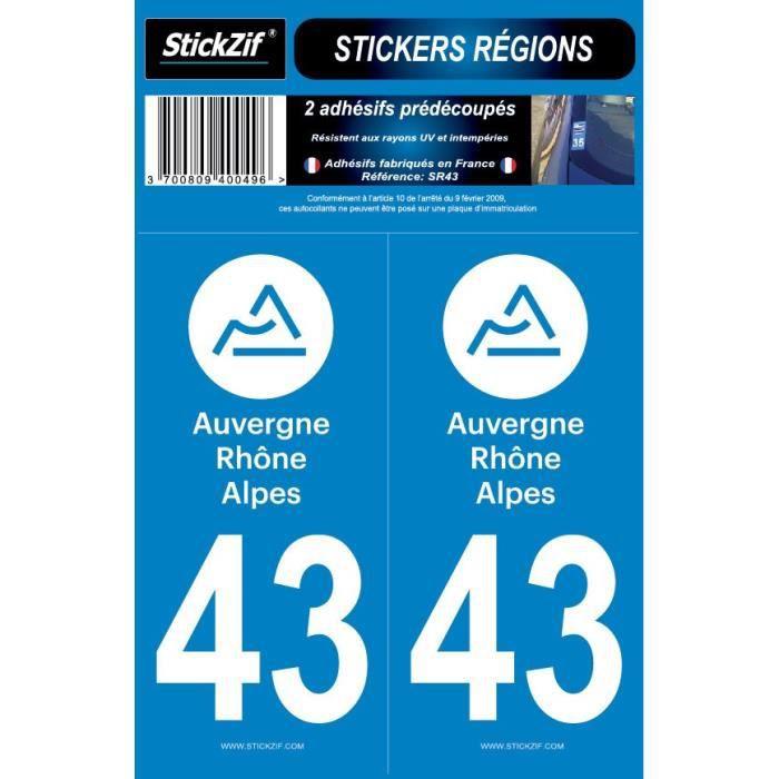 STICKZIF 2 Autocollants Région Département 43 SR43