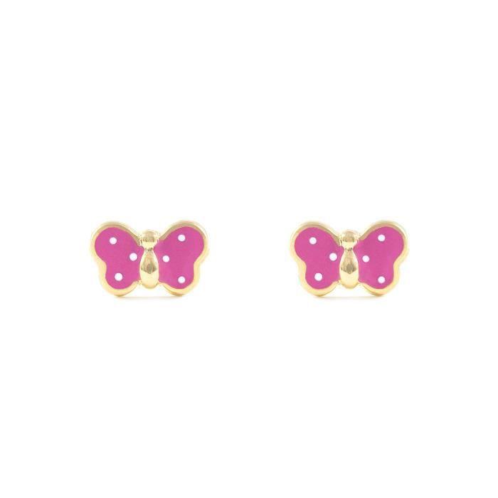 Jaune Et Enfants 18ct750V9xdg Femmes Papillon Rose D'oreilles Boucles Or 4A3j5RL