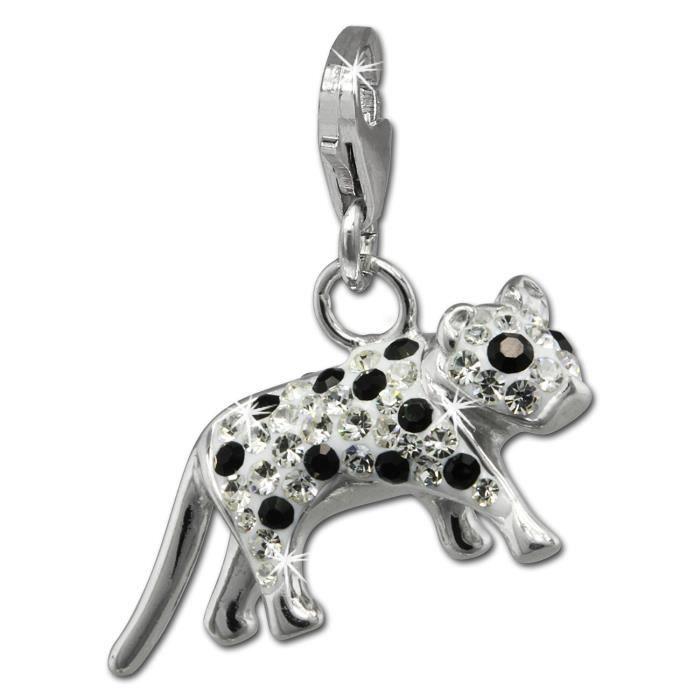 SilberDream scintillement bijoux - Charm bengali chat blanc - Femme - Argent 925/1000 - tchèques cristaux Preciosa - GSC550W