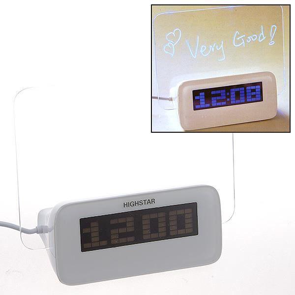 Réveil Alarme Led Horloge Digitale Panneau Message Mémo 4 Port Usb Hub