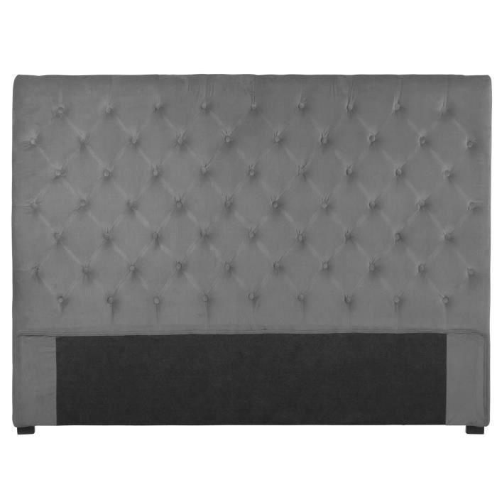 t te de lit capitonn e 160 cm lin anthracite am li achat. Black Bedroom Furniture Sets. Home Design Ideas