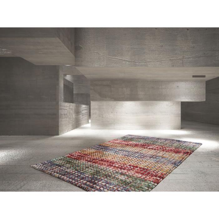 323a64f2ef52 DELADECO - Tapis tissé main en laine feutrée multicolore Mellow - 120x170cm  - Multicolore