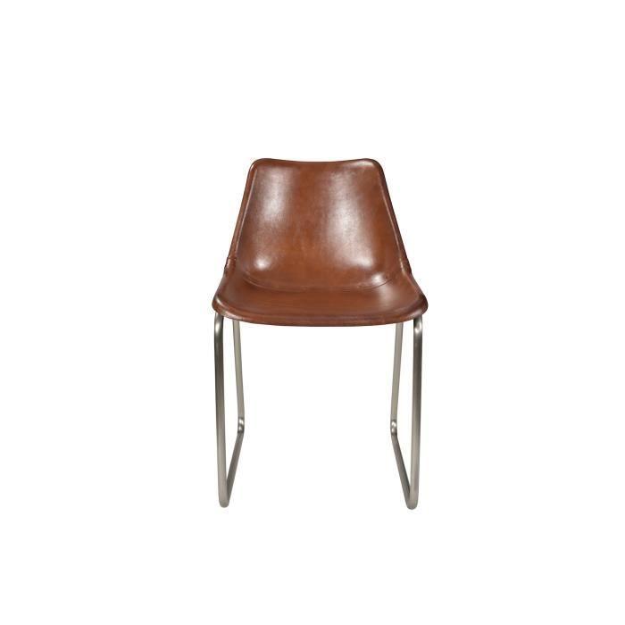 Chaise Design En Cuir Blanc Et Pieds Metal