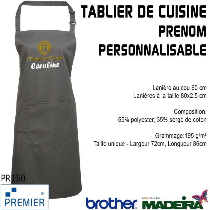 Tablier de cuisine avec poche gris fonce brod masterchef for Achat tablier cuisine
