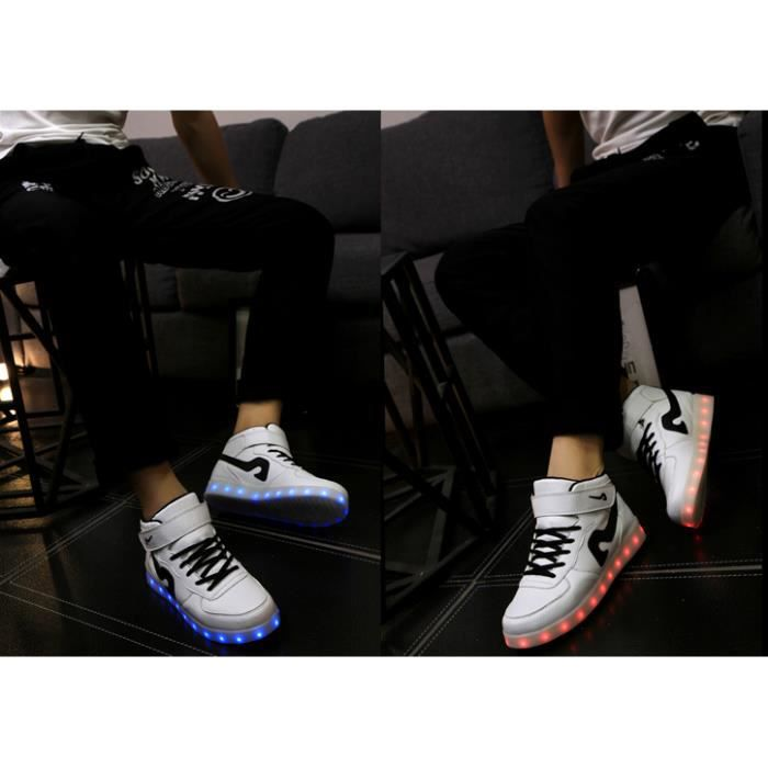Automne recharge USB LED multicolores clignotantes Chaussures Sneaker