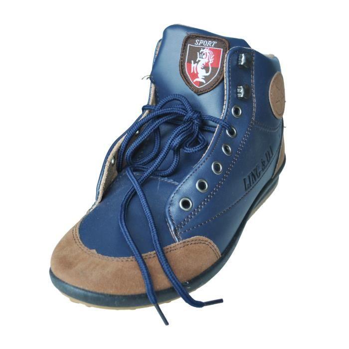 SODIAL(R) Hommes Casual Hiver Haute-top Chaussures Velours Chaud et Impermeable Bottes Chaussures de sport Bleu Taille 41(US