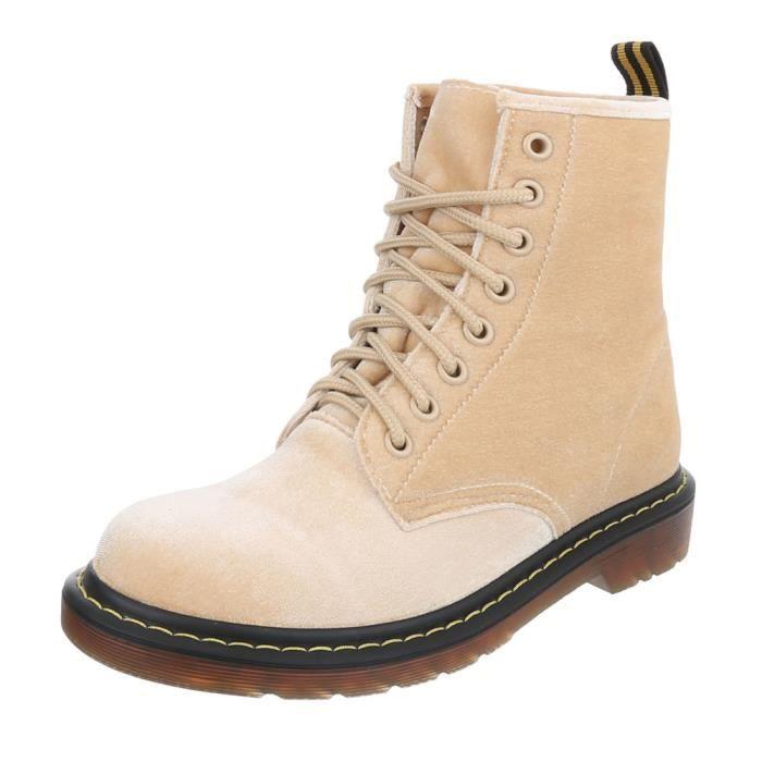 881626498b19 Chaussures femme bottine lacet Bottes Beige 41 Beige Beige - Achat ...