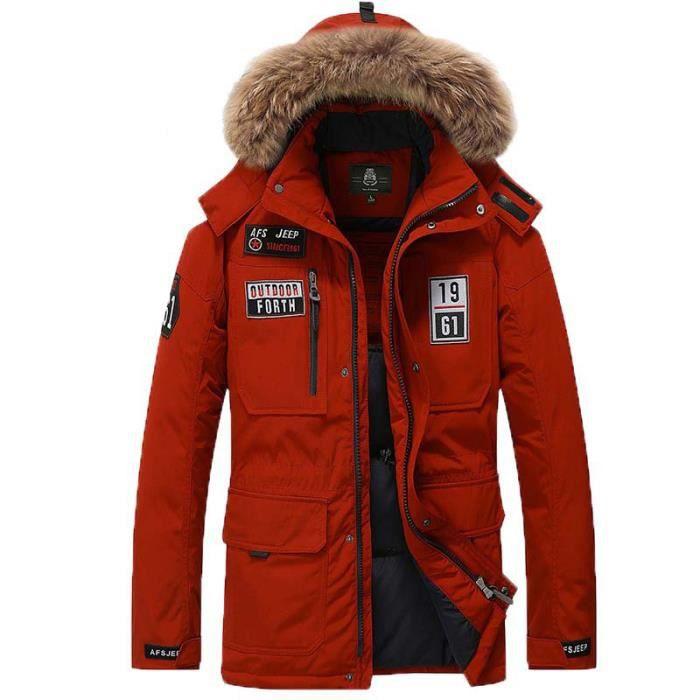 doudoune Rouge homme hiver imprimé de col en fausse fourrure Mode Vêtement  Masculin avec petit logo d43a294eea68