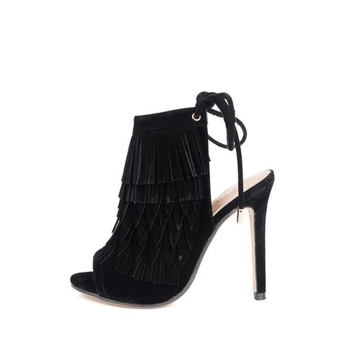 Sandales femme Vogue Tassel Retour lacer Peep Toe Chaussures à talon 4264920 ej6d1ZxX