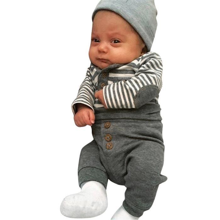 b534ef3a87f30 Nouveau-né bébé garçons manches longues à rayures Hauts + Pantalons pour  bébés Tenues vêtements Ensembles RWEI3497