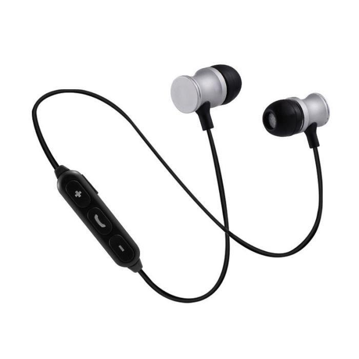 Oem - Ecouteurs Bluetooth Metal Pour Wiko View 2 Smartphone Sans Fil Telecommande Son Main Libre Intra Aur Couleur:argent