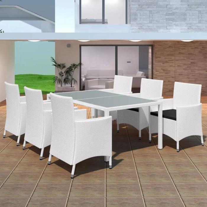 Jeu de mobilier de jardin 13 pcs Ensemble table chaise faute de jardin  Blanc crème Résine tressée