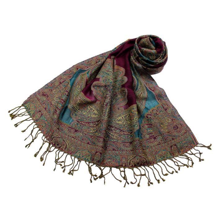 8b6420b83dfea Etole Laine Réversible Motif Cachemire N10 Turquoise/Violette ...