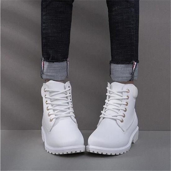 Boots Bottines Classique Cuir xz021blanc36 Femmes En Bbzh Confortable Mode Martin ftqxpd0wf