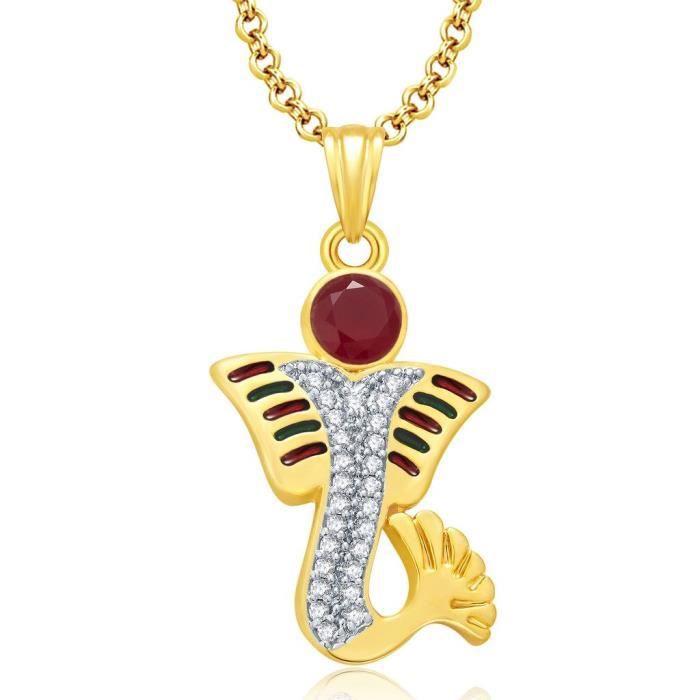 Seigneur Ganesha Femmes en or et plaqué Rhodium Set Cz Pendentif pourGWPR0