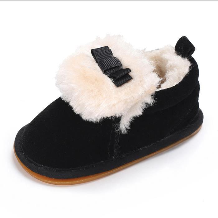 Frankmall®Bow bébé garçons filles chaussures en peluche mocassins douce semelle non-dérapant chaud velours neige NOIR#WQQ0926097