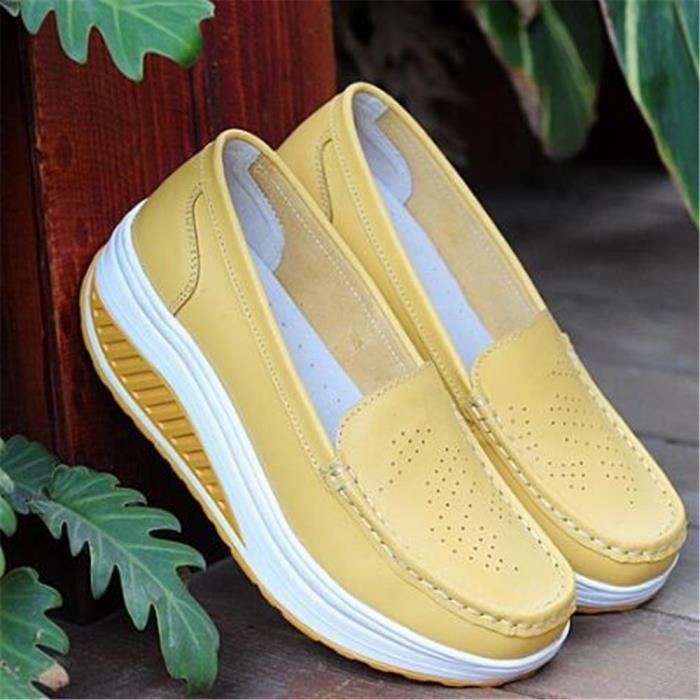 Chaussures Femmes Printemps ete Plate-Forme Chaussures BSMG-XZ058Jaune37