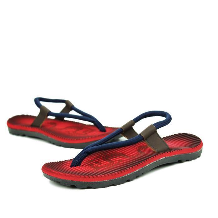 Tongs mixte adulte Chaussures d'été Tongs de pisine et plage Tongs rouges et bleu Chaussures confortables Fm0E7D6MWS