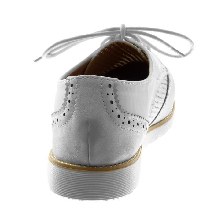 Angkorly - Chaussure Mode Derbies semelle basket femme perforée brillant Talon plat 2.5 CM - Blanc - G1531 T 41