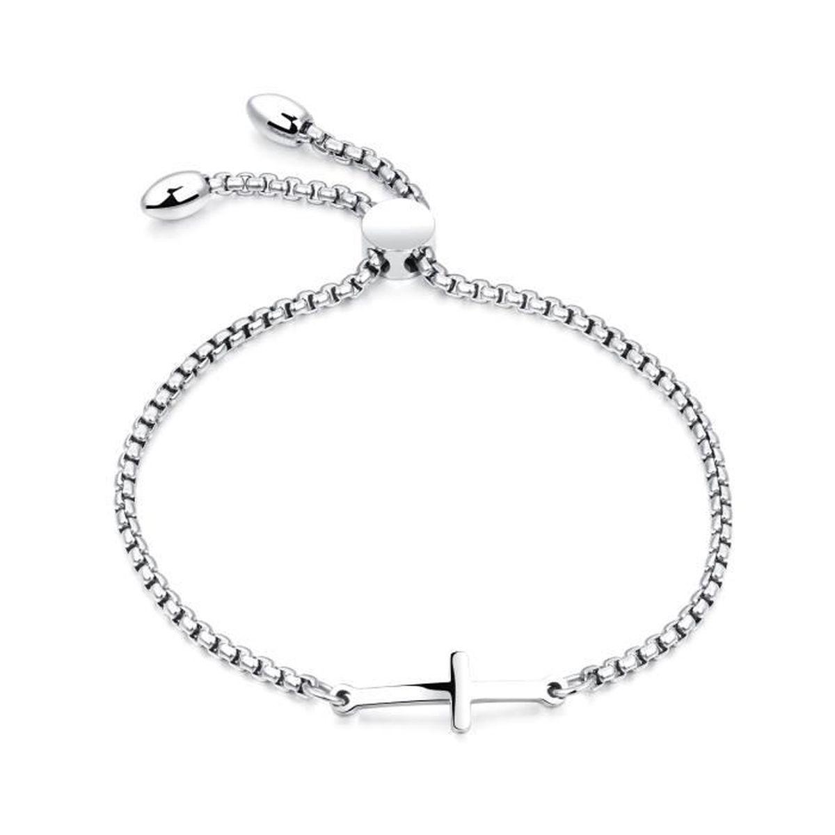 prix pas cher authentique boutique de sortie Simple Bracelet Femme Côté Croix Religieux Acier Inoxydable ...