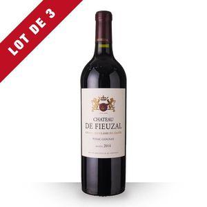 VIN ROUGE 3X Château de Fieuzal 2014 Rouge 75cl AOC Pessac-L