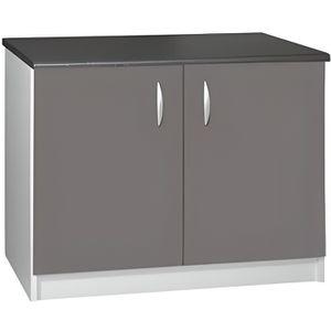 elements bas meuble cuisine bas 120 cm 2 portes oxane gris