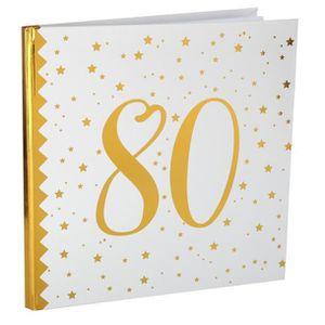 LIVRE D OR Livre d'or anniversaire blanc et or 80ans (x1) REF