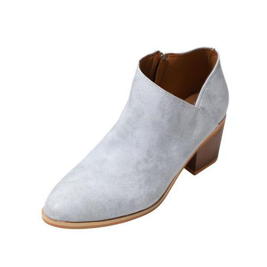 Femmes Femmes Chaussures Automne Mode cheville cuir solide Martin Bottes courtes  Bleu clair - Achat / Vente botte