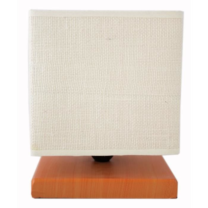 Lampe à poser avec pied bois miel abat jour en coton blanc trame h 23 x l 18 x l 18 cm
