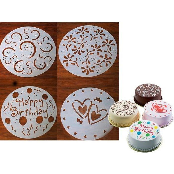 4 Pochoirs Pour Gâteau Pour Cake Rond Deco Maison Ustensile Cuisine