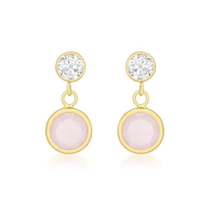 Carissima 9ct Or Jaune Cubic Zirconia And Pink Crystal Drop Earrings K2RX8