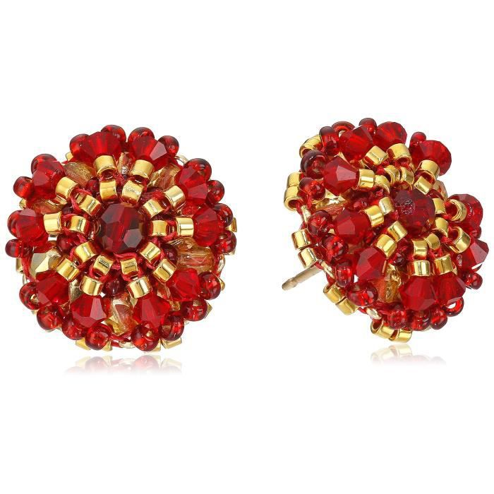 Miguel Ases Rubellite Bead And 14k Gold Filled Small Button Earrings P15I5