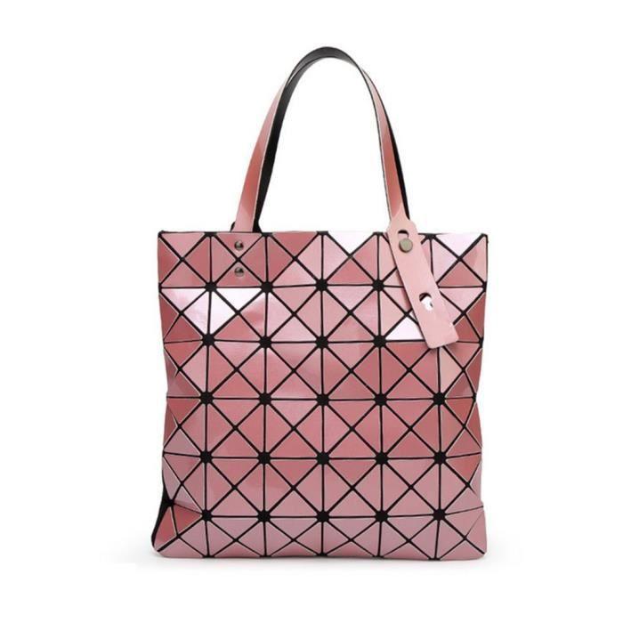 Femmes Pu cuir géométrique diamant épaule sac à main poignée supérieure sac de Satchel XJ1L2