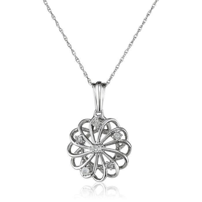 10k White Diamond 0.10 Cttw Pendant Necklace, 18 T5U73